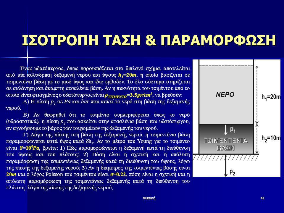 Φυσική41 ΙΣΟΤΡΟΠΗ ΤΑΣΗ & ΠΑΡΑΜΟΡΦΩΣΗ Ένας υδατόπυργος, όπως παρουσιάζεται στο διπλανό σχήμα, αποτελείται από μία κυλινδρική δεξαμενή νερού και ύψους h