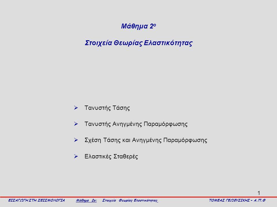 1 Μάθημα 2 ο Στοιχεία Θεωρίας Ελαστικότητας  Τανυστής Τάσης  Τανυστής Aνηγμένης Παραμόρφωσης  Σχέση Τάσης και Ανηγμένης Παραμόρφωσης  Ελαστικές Στ
