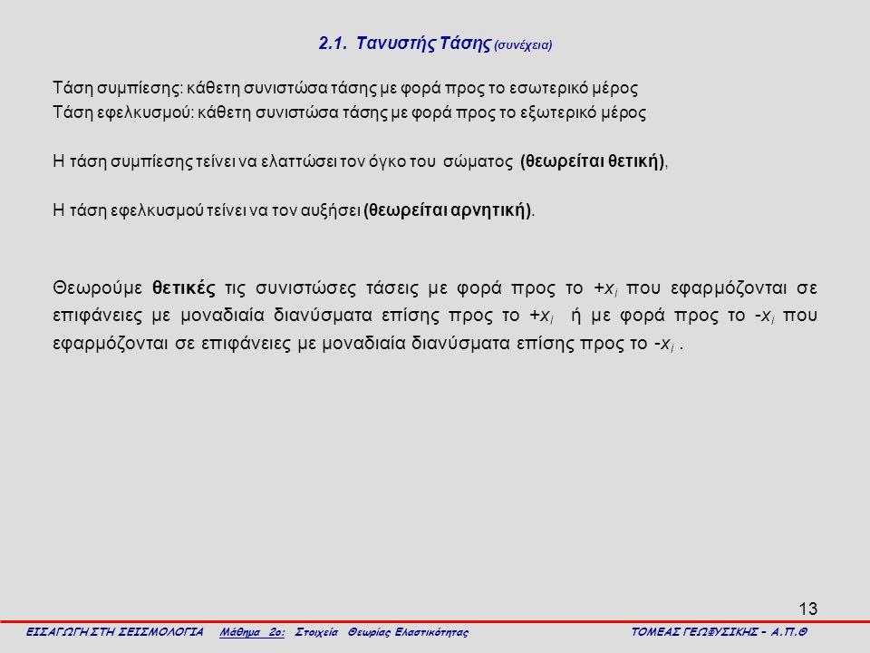 13 2.1. Τανυστής Τάσης (συνέχεια) Τάση συμπίεσης: κάθετη συνιστώσα τάσης με φορά προς το εσωτερικό μέρος Τάση εφελκυσμού: κάθετη συνιστώσα τάσης με φο