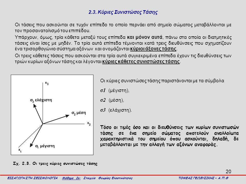 20 2.3. Κύριες Συνιστώσες Τάσης Οι τάσεις που ασκούνται σε τυχόν επίπεδο το οποίο περνάει από σημείο σώματος μεταβάλλονται με τον προσανατολισμό του ε