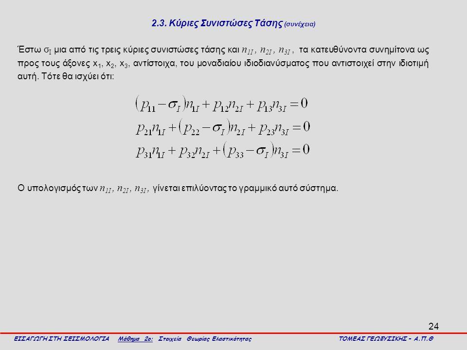 24 2.3. Κύριες Συνιστώσες Τάσης (συνέχεια) Έστω σ I μια από τις τρεις κύριες συνιστώσες τάσης και n 1I, n 2I, n 3I, τα κατευθύνοντα συνημίτονα ως προς