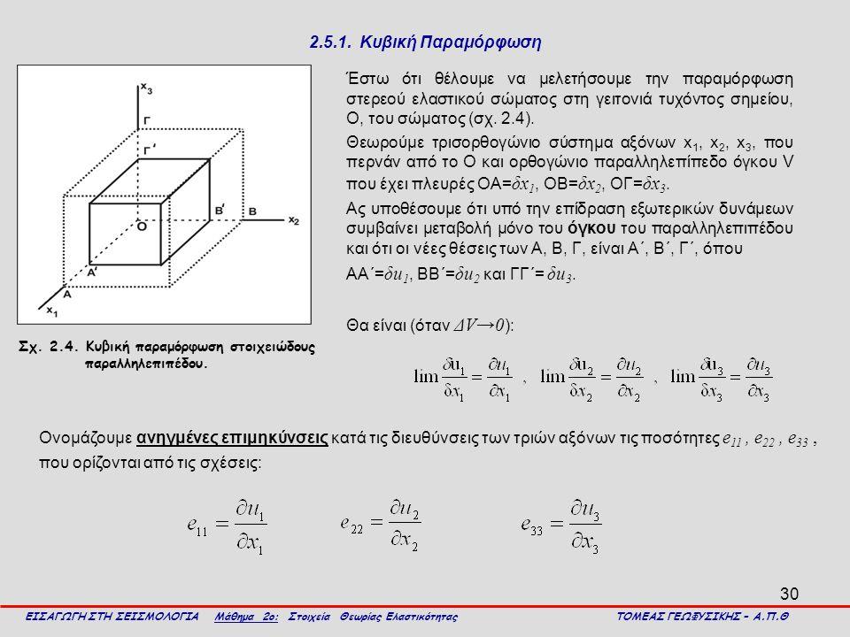 30 2.5.1. Κυβική Παραμόρφωση Έστω ότι θέλουμε να μελετήσουμε την παραμόρφωση στερεού ελαστικού σώματος στη γειτονιά τυχόντος σημείου, Ο, του σώματος (