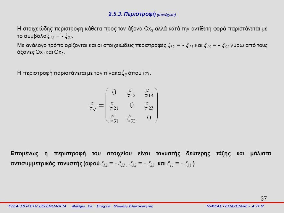 37 2.5.3. Περιστροφή (συνέχεια) Η στοιχειώδης περιστροφή κάθετα προς τον άξονα Οx 3 αλλά κατά την αντίθετη φορά παριστάνεται με το σύμβολο ξ 12 = - ξ