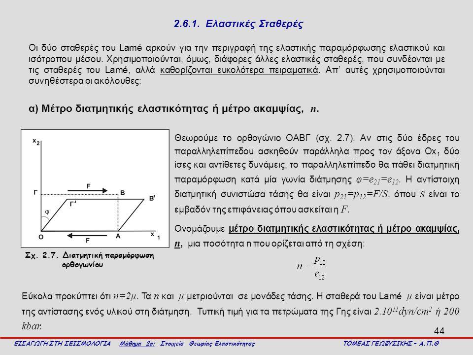 44 2.6.1. Ελαστικές Σταθερές Οι δύο σταθερές του Lamé αρκούν για την περιγραφή της ελαστικής παραμόρφωσης ελαστικού και ισότροπου μέσου. Χρησιμοποιούν