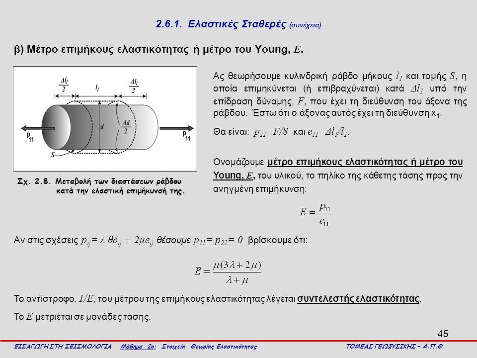 45 2.6.1. Ελαστικές Σταθερές (συνέχεια) β) Μέτρο επιμήκους ελαστικότητας ή μέτρο του Young, Ε. ΕΙΣΑΓΩΓΗ ΣΤΗ ΣΕΙΣΜΟΛΟΓΙΑ Μάθημα 2ο: Στοιχεία Θεωρίας Ελ