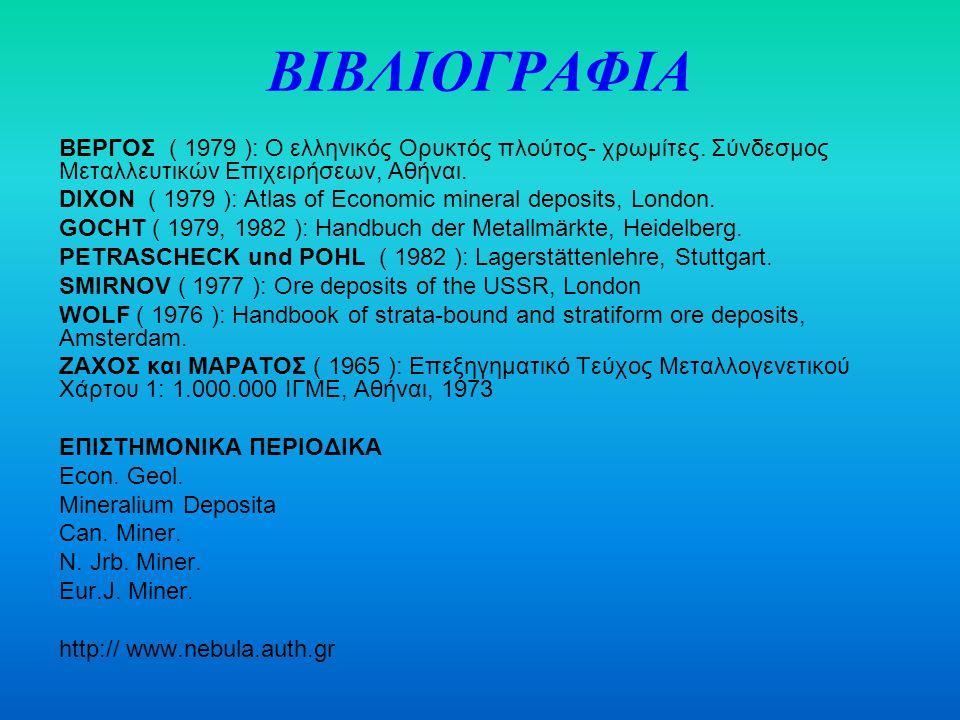 ΒΙΒΛΙΟΓΡΑΦΙΑ ΒΕΡΓΟΣ ( 1979 ): Ο ελληνικός Ορυκτός πλούτος- χρωμίτες. Σύνδεσμος Μεταλλευτικών Επιχειρήσεων, Αθήναι. DIXON ( 1979 ): Atlas of Economic m