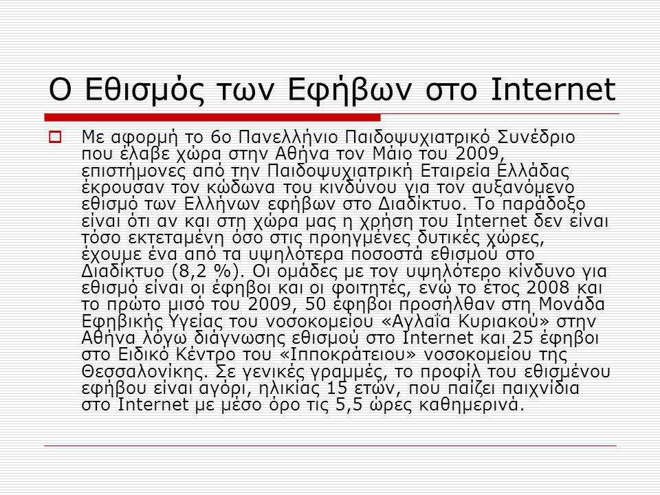 Ο Εθισμός των Εφήβων στο Internet  Με αφορμή το 6ο Πανελλήνιο Παιδοψυχιατρικό Συνέδριο που έλαβε χώρα στην Αθήνα τον Μάιο του 2009, επιστήμονες από την Παιδοψυχιατρική Εταιρεία Ελλάδας έκρουσαν τον κώδωνα του κινδύνου για τον αυξανόμενο εθισμό των Ελλήνων εφήβων στο Διαδίκτυο.