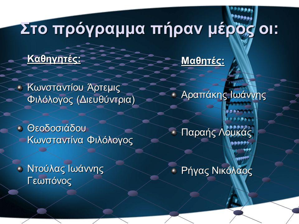 Στο πρόγραμμα πήραν μέρος οι: Καθηγητές: Κωνσταντίου Άρτεμις Φιλόλογος (Διευθύντρια) Θεοδοσιάδου Κωνσταντίνα Φιλόλογος Ντούλας Ιωάννης Γεωπόνος Μαθητέ