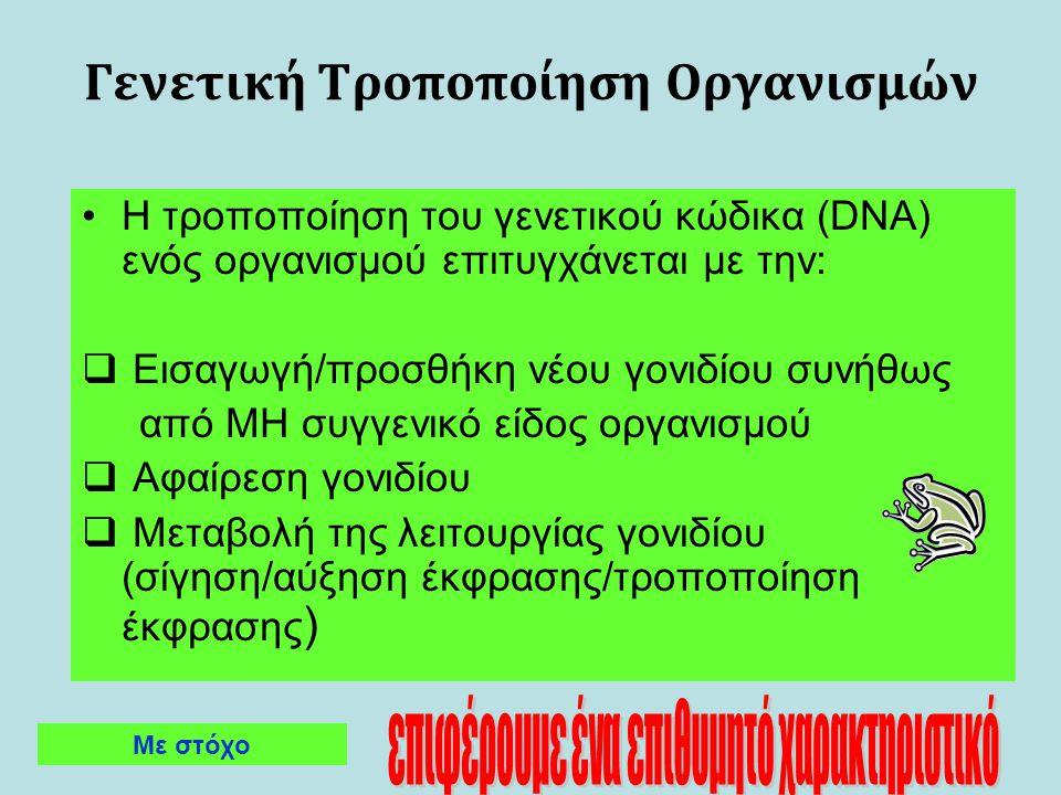 Γενετική Τροποποίηση Οργανισμών Η τροποποίηση του γενετικού κώδικα (DNA) ενός οργανισμού επιτυγχάνεται με την:  Εισαγωγή/προσθήκη νέου γονιδίου συνήθ