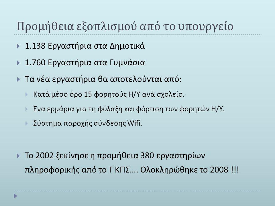 Προμήθεια εξοπλισμού από το υπουργείο  1.138 Εργαστήρια στα Δημοτικά  1.760 Εργαστήρια στα Γυμνάσια  Τα νέα εργαστήρια θα αποτελούνται από :  Κατά