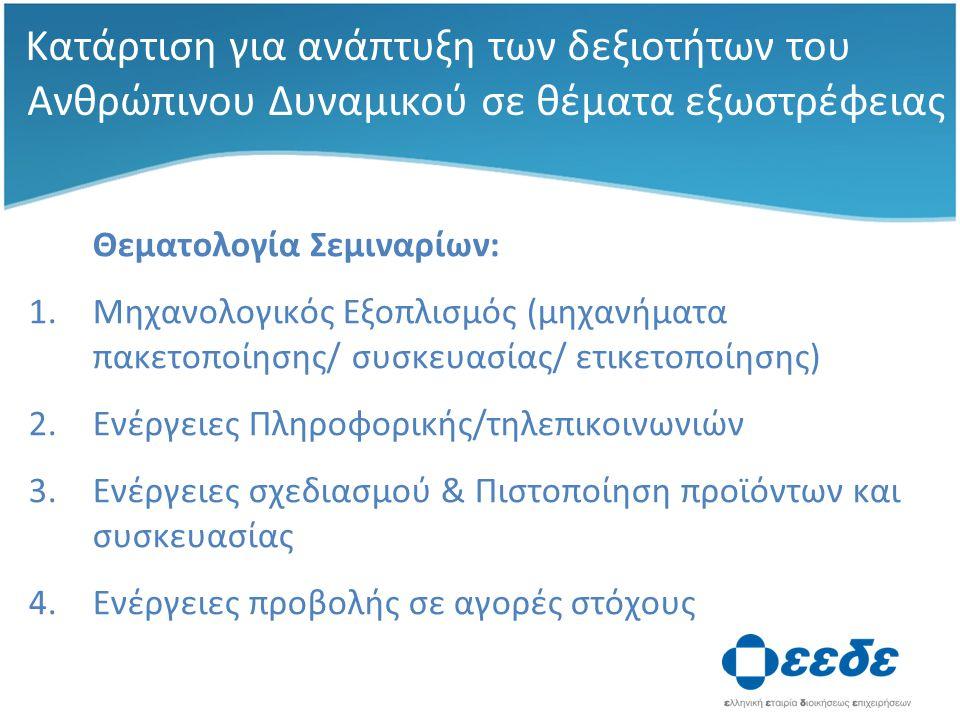 Κατάρτιση για ανάπτυξη των δεξιοτήτων του Ανθρώπινου Δυναμικού σε θέματα εξωστρέφειας Θεματολογία Σεμιναρίων: 1.Μηχανολογικός Εξοπλισμός (μηχανήματα πακετοποίησης/ συσκευασίας/ ετικετοποίησης) 2.Ενέργειες Πληροφορικής/τηλεπικοινωνιών 3.Ενέργειες σχεδιασμού & Πιστοποίηση προϊόντων και συσκευασίας 4.Ενέργειες προβολής σε αγορές στόχους