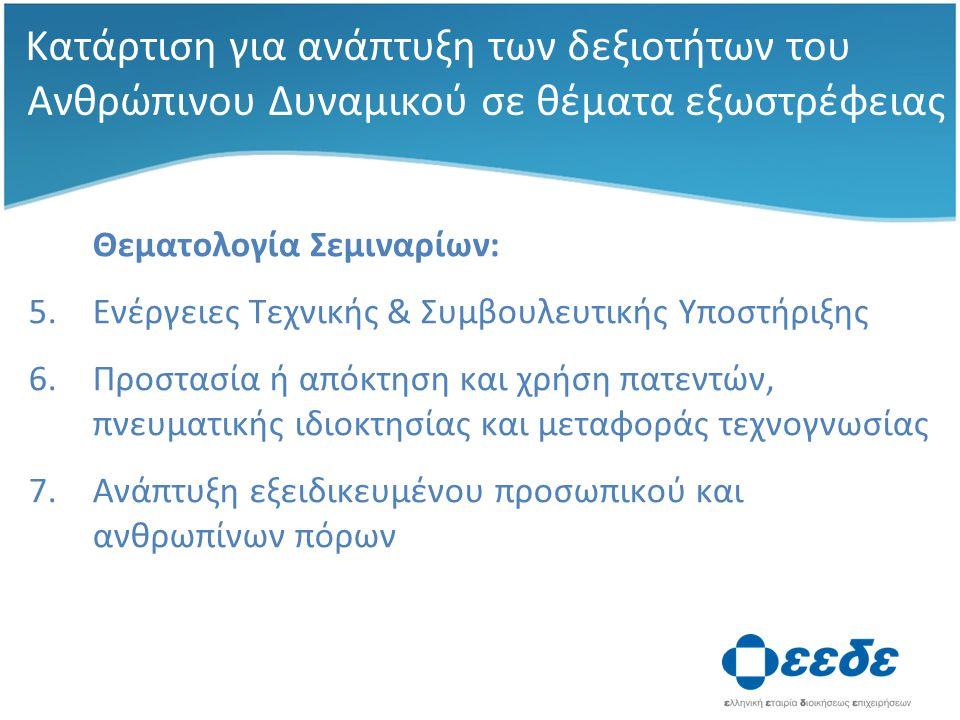 Κατάρτιση για ανάπτυξη των δεξιοτήτων του Ανθρώπινου Δυναμικού σε θέματα εξωστρέφειας Θεματολογία Σεμιναρίων: 5.Ενέργειες Τεχνικής & Συμβουλευτικής Υποστήριξης 6.Προστασία ή απόκτηση και χρήση πατεντών, πνευματικής ιδιοκτησίας και μεταφοράς τεχνογνωσίας 7.Ανάπτυξη εξειδικευμένου προσωπικού και ανθρωπίνων πόρων