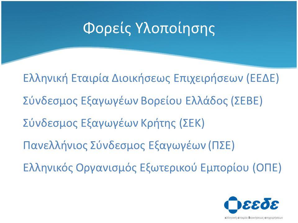 Φορείς Υλοποίησης Ελληνική Εταιρία Διοικήσεως Επιχειρήσεων (ΕΕΔΕ) Σύνδεσμος Εξαγωγέων Βορείου Ελλάδος (ΣΕΒΕ) Σύνδεσμος Εξαγωγέων Κρήτης (ΣΕΚ) Πανελλήνιος Σύνδεσμος Εξαγωγέων (ΠΣΕ) Ελληνικός Οργανισμός Εξωτερικού Εμπορίου (ΟΠΕ)