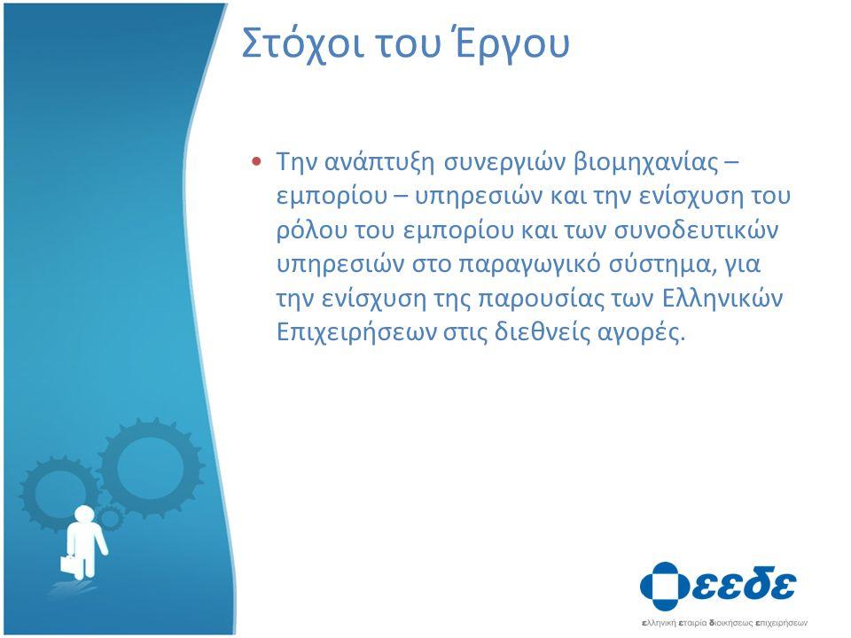 Στόχοι του Έργου Την ανάπτυξη συνεργιών βιομηχανίας – εμπορίου – υπηρεσιών και την ενίσχυση του ρόλου του εμπορίου και των συνοδευτικών υπηρεσιών στο παραγωγικό σύστημα, για την ενίσχυση της παρουσίας των Ελληνικών Επιχειρήσεων στις διεθνείς αγορές.
