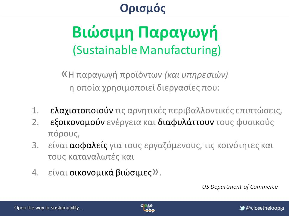 Open the way to sustainability… @closetheloopgr 3 Διαστάσεις/Πυλώνες