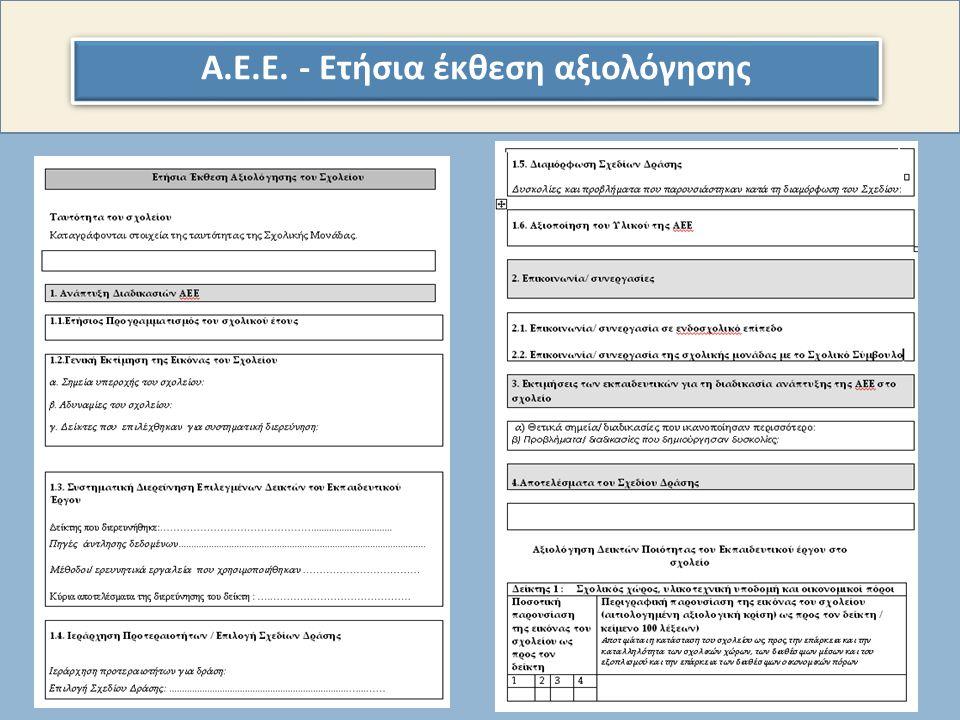 Α. Ε. Ε. - Ετήσια έκθεση αξιολόγησης
