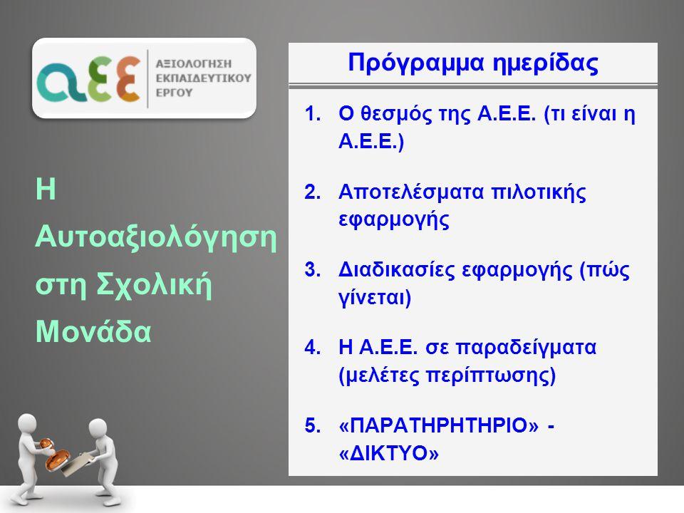 Πρόγραμμα ημερίδας 1.Ο θεσμός της Α.Ε.Ε. (τι είναι η Α.Ε.Ε.) 2.Αποτελέσματα πιλοτικής εφαρμογής 3.Διαδικασίες εφαρμογής (πώς γίνεται) 4.Η Α.Ε.Ε. σε πα