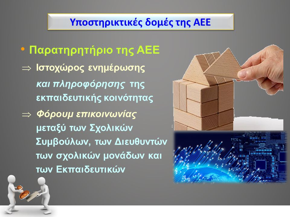 Υποστηρικτικές δομές της ΑΕΕ Παρατηρητήριο της ΑΕΕ  Ιστοχώρος ενημέρωσης και πληροφόρησης της εκπαιδευτικής κοινότητας  Φόρουμ επικοινωνίας μεταξύ τ
