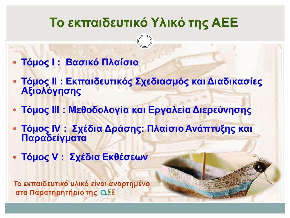 Το εκπαιδευτικό Υλικό της ΑΕΕ Τόμος Ι : Βασικό Πλαίσιο Τόμος ΙΙ : Εκπαιδευτικός Σχεδιασμός και Διαδικασίες Αξιολόγησης Τόμος ΙΙΙ : Μεθοδολογία και Εργαλεία Διερεύνησης Τόμος ΙV : Σχέδια Δράσης: Πλαίσιο Ανάπτυξης και Παραδείγματα Τόμος V : Σχέδια Εκθέσεων To εκπαιδευτικό υλικό είναι αναρτημένο στο Παρατηρητήριο της