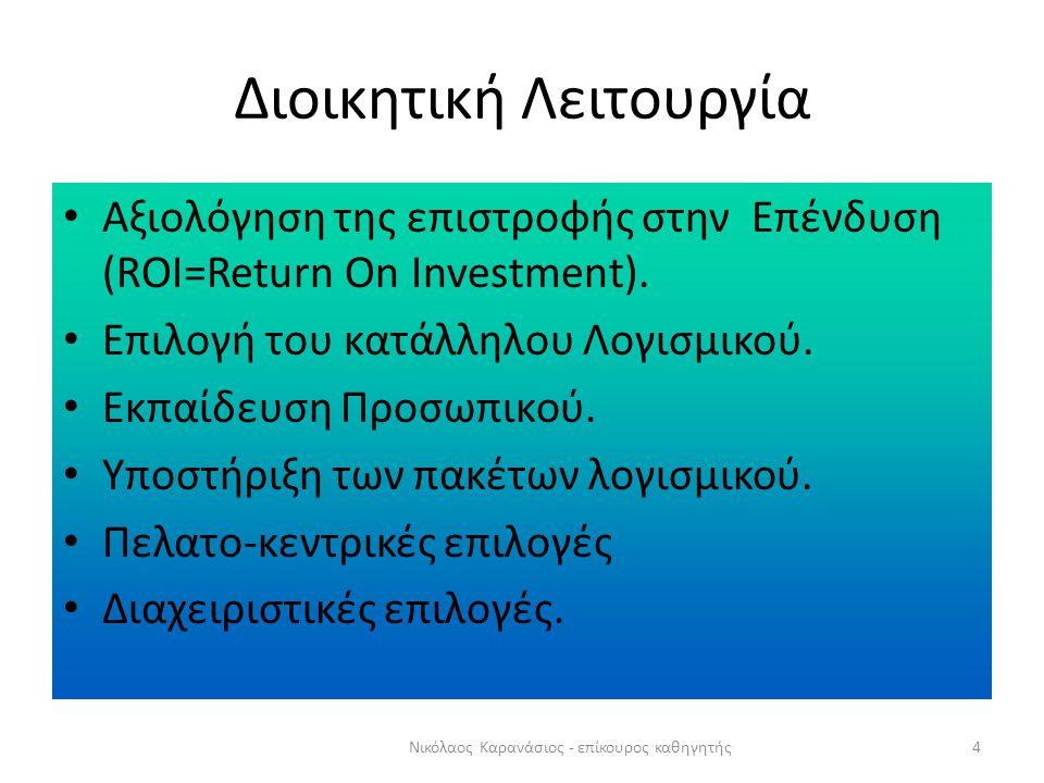 Διοικητική Λειτουργία 4Νικόλαος Καρανάσιος - επίκουρος καθηγητής Αξιολόγηση της επιστροφής στην Επένδυση (ROI=Return On Investment).