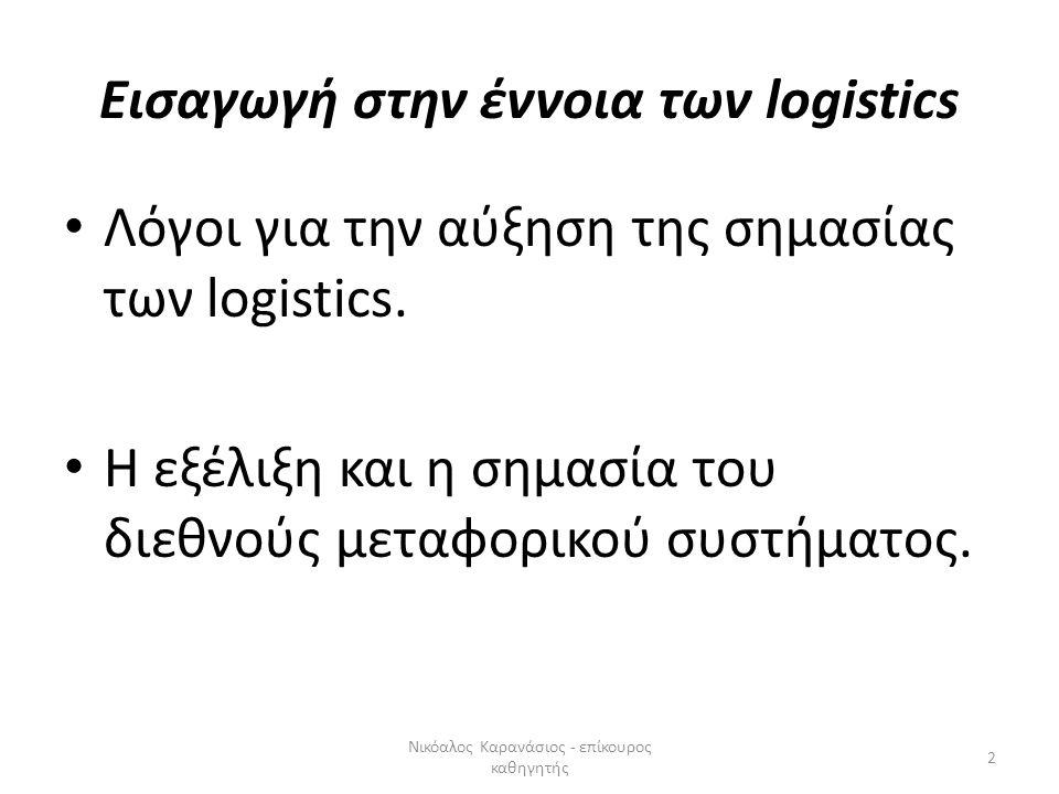 Εισαγωγή στην έννοια των logistics Λόγοι για την αύξηση της σημασίας των logistics. Η εξέλιξη και η σημασία του διεθνούς μεταφορικού συστήματος. 2 Νικ