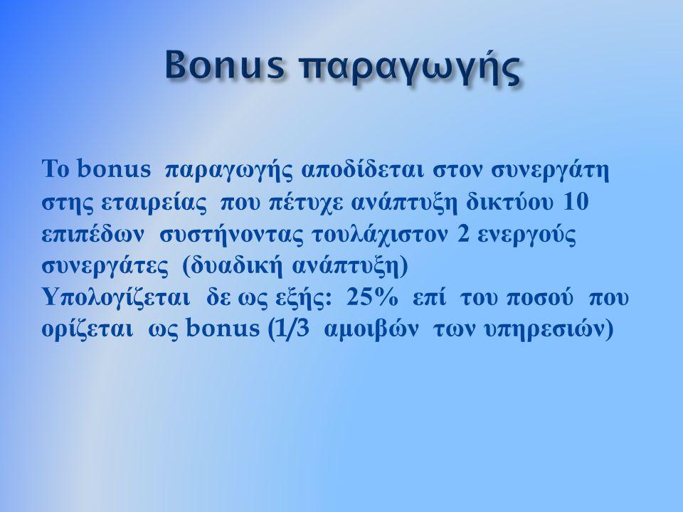 Το bonus παραγωγής αποδίδεται στον συνεργάτη στης εταιρείας που πέτυχε ανάπτυξη δικτύου 10 επιπέδων συστήνοντας τουλάχιστον 2 ενεργούς συνεργάτες ( δυ