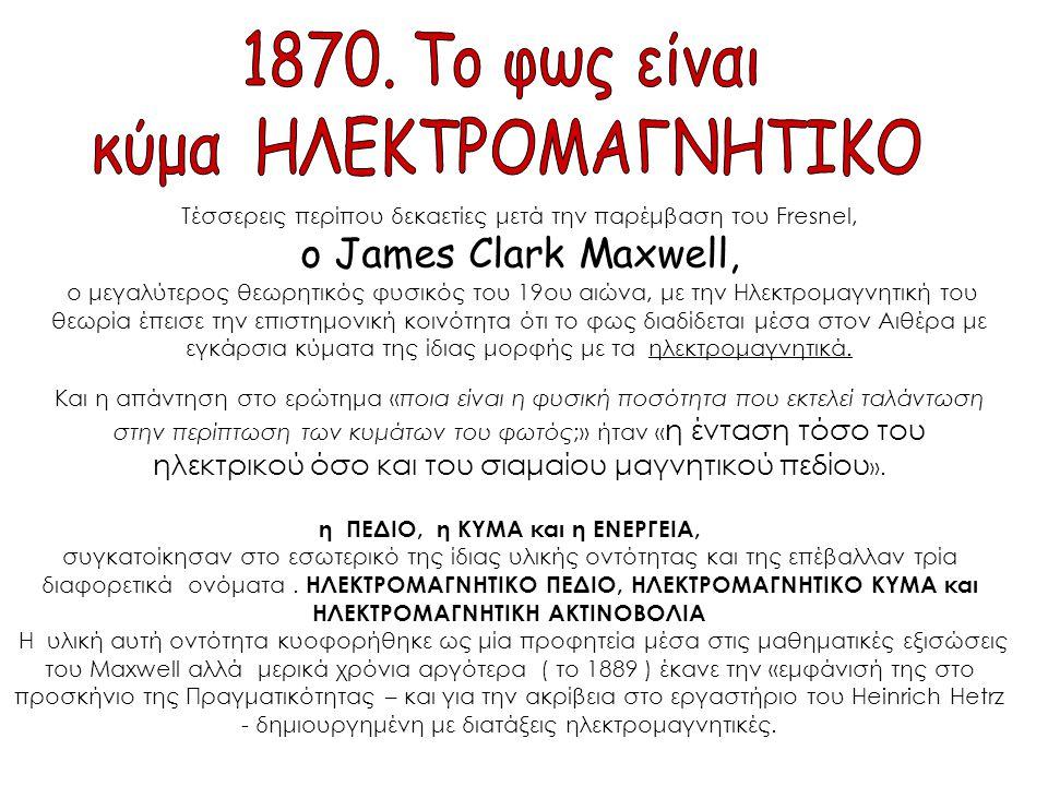 Τέσσερεις περίπου δεκαετίες μετά την παρέμβαση του Fresnel, o James Clark Maxwell, ο μεγαλύτερος θεωρητικός φυσικός του 19ου αιώνα, με την Ηλεκτρομαγν