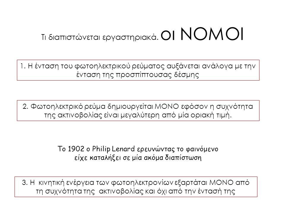 Τι διαπιστώνεται εργαστηριακά. οι ΝΟΜΟΙ 1. Η ένταση του φωτοηλεκτρικού ρεύματος αυξάνεται ανάλογα με την ένταση της προσπίπτουσας δέσμης 3. Η κινητική