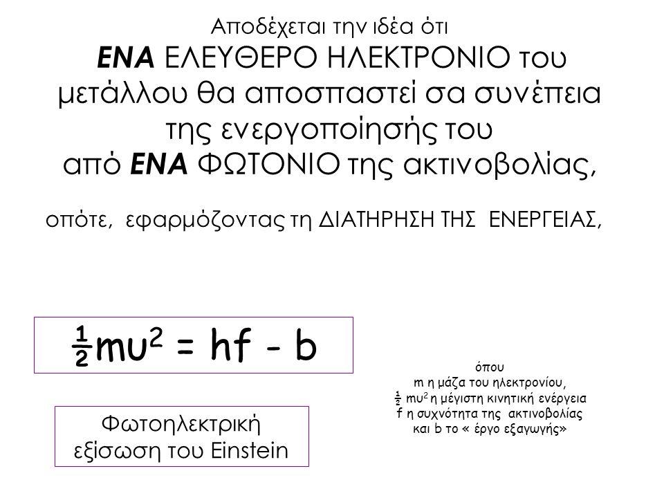 ½mυ 2 = hf - b Αποδέχεται την ιδέα ότι ΕΝΑ ΕΛΕΥΘΕΡΟ ΗΛΕΚΤΡΟΝΙΟ του μετάλλου θα αποσπαστεί σα συνέπεια της ενεργοποίησής του από ΕΝΑ ΦΩΤΟΝΙΟ της ακτινο