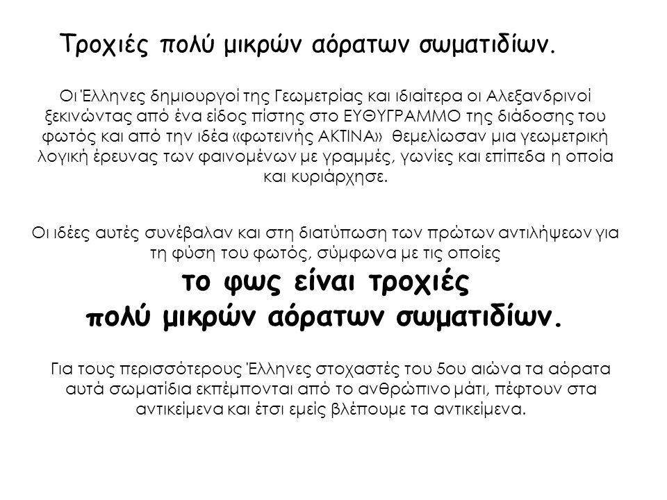 Τροχιές πολύ μικρών αόρατων σωματιδίων. Οι Έλληνες δημιουργοί της Γεωμετρίας και ιδιαίτερα οι Αλεξανδρινοί ξεκινώντας από ένα είδος πίστης στο ΕΥΘΥΓΡΑ