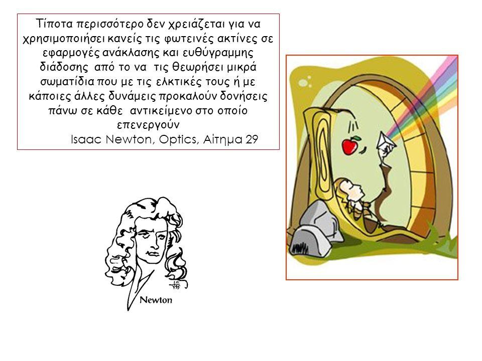 Η κυματική θεωρία Την ίδια περίπου εποχή στο Παρίσι ο Ολλανδός Christiaan Huygens στο βιβλίο του - γραμμένο στα γαλλικά, Traité de la Lumière – Πραγματεία για το Φως – διατύπωσε μια σχετικά ολοκληρωμένη θεωρία με την οποία θα ήταν δυνατόν να ερμηνευτούν τα γνωστά τότε φωτεινά φαινόμενα – η ανάκλαση, η διάθλαση και η διπλή διάθλαση στη λεγόμενη ισλανδική κρύσταλλο.