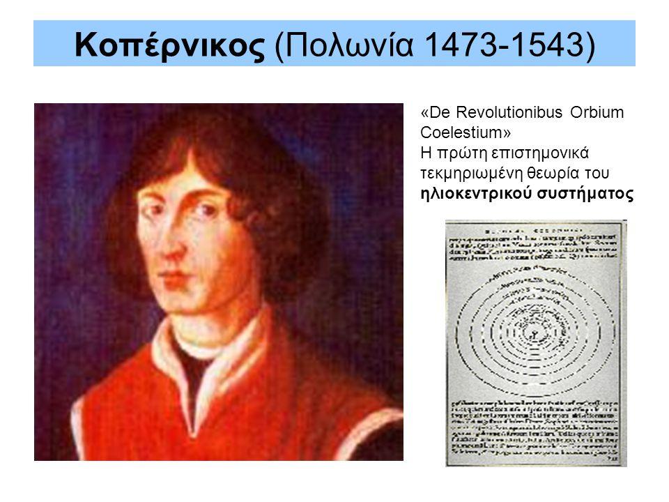 Κοπέρνικος (Πολωνία 1473-1543) «De Revolutionibus Orbium Coelestium» H πρώτη επιστημονικά τεκμηριωμένη θεωρία του ηλιοκεντρικού συστήματος