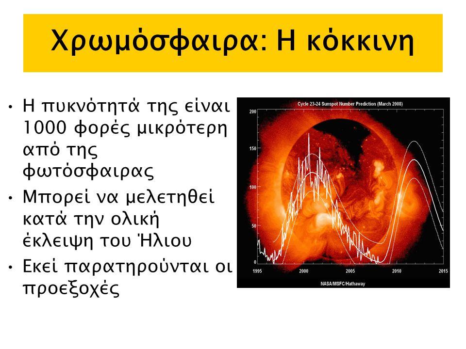 Χρωμόσφαιρα: Η κόκκινη Η πυκνότητά της είναι 1000 φορές μικρότερη από της φωτόσφαιρας Μπορεί να μελετηθεί κατά την ολική έκλειψη του Ήλιου Εκεί παρατηρούνται οι προεξοχές