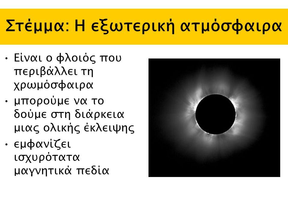 Στέμμα: Η εξωτερική ατμόσφαιρα Είναι ο φλοιός που περιβάλλει τη χρωμόσφαιρα μπορούμε να το δούμε στη διάρκεια μιας ολικής έκλειψης εμφανίζει ισχυρότατα μαγνητικά πεδία