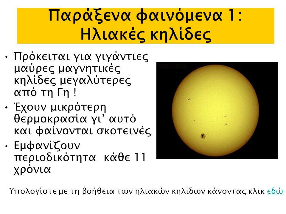 Παράξενα φαινόμενα 1: Ηλιακές κηλίδες Πρόκειται για γιγάντιες μαύρες μαγνητικές κηλίδες μεγαλύτερες από τη Γη .