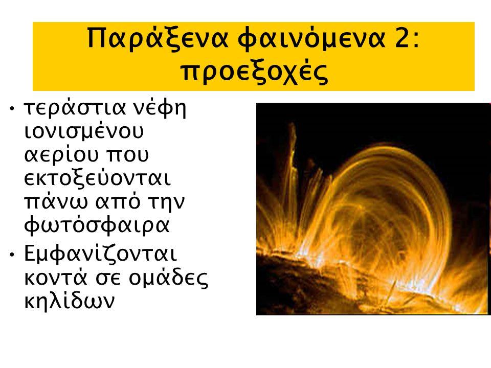 Παράξενα φαινόμενα 2: προεξοχές τεράστια νέφη ιονισμένου αερίου που εκτοξεύονται πάνω από την φωτόσφαιρα Εμφανίζονται κοντά σε ομάδες κηλίδων