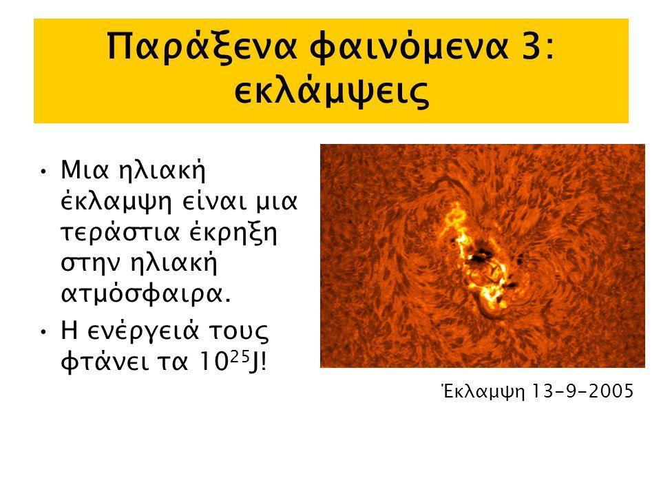 Παράξενα φαινόμενα 3: εκλάμψεις Μια ηλιακή έκλαμψη είναι μια τεράστια έκρηξη στην ηλιακή ατμόσφαιρα.