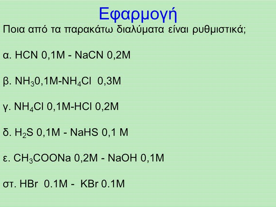 Ρυθμιστικά ονομάζονται τα διαλύματα που διατηρούν πρακτικά σταθερό το pH τους, έστω και μετά την προσθήκη σε αυτά μικρής αλλά υπολογίσιμης ποσότητας ι