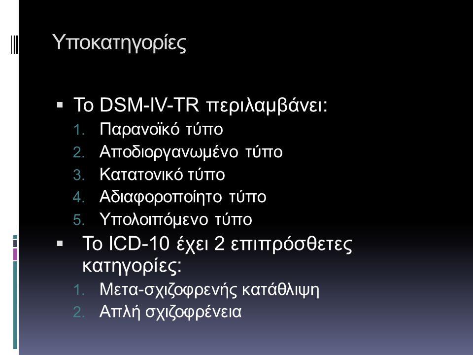 Υποκατηγορίες  Το DSM-IV-TR περιλαμβάνει: 1. Παρανοϊκό τύπο 2. Αποδιοργανωμένο τύπο 3. Κατατονικό τύπο 4. Αδιαφοροποίητο τύπο 5. Υπολοιπόμενο τύπο 