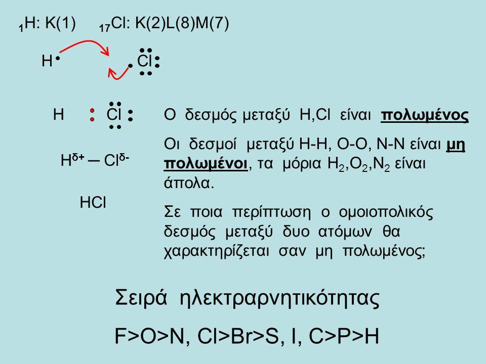 1 H: Κ(1) 17 Cl: Κ(2)L(8)M(7) ΗCl Η H δ+ ─ Cl δ- HCl Ο δεσμός μεταξύ Η,Cl είναι πολωμένος Οι δεσμοί μεταξύ H-H, O-O, N-N είναι μη πολωμένοι, τα μόρια Η 2,Ο 2,Ν 2 είναι άπολα.