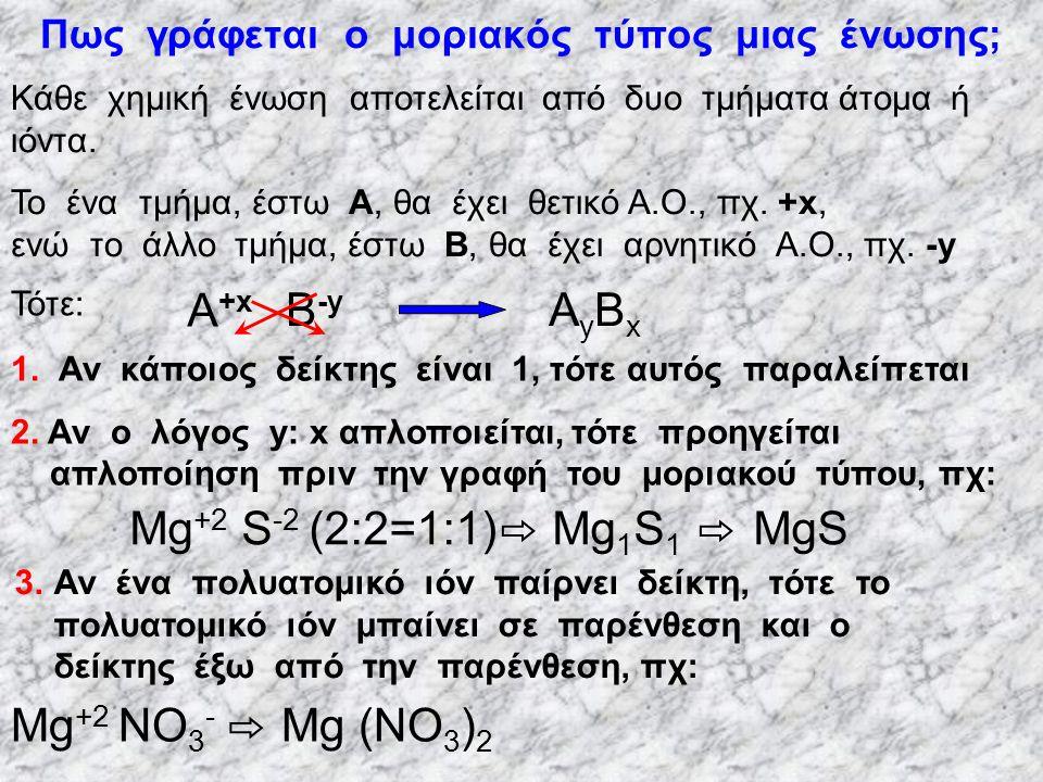 Πρακτικοί κανόνες υπολογισμού Α.Ο  Κάθε στοιχείο σε ελεύθερη κατάσταση έχει Α.Ο μηδέν  Το Η στις ενώσεις του με αμέταλλα έχει Α.Ο. +1, ενώ στις ενώσ