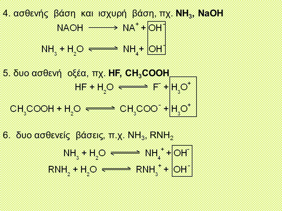 4.ασθενής βάση και ισχυρή βάση, πχ.NH 3, NaOH 5.δυο ασθενή οξέα, πχ.