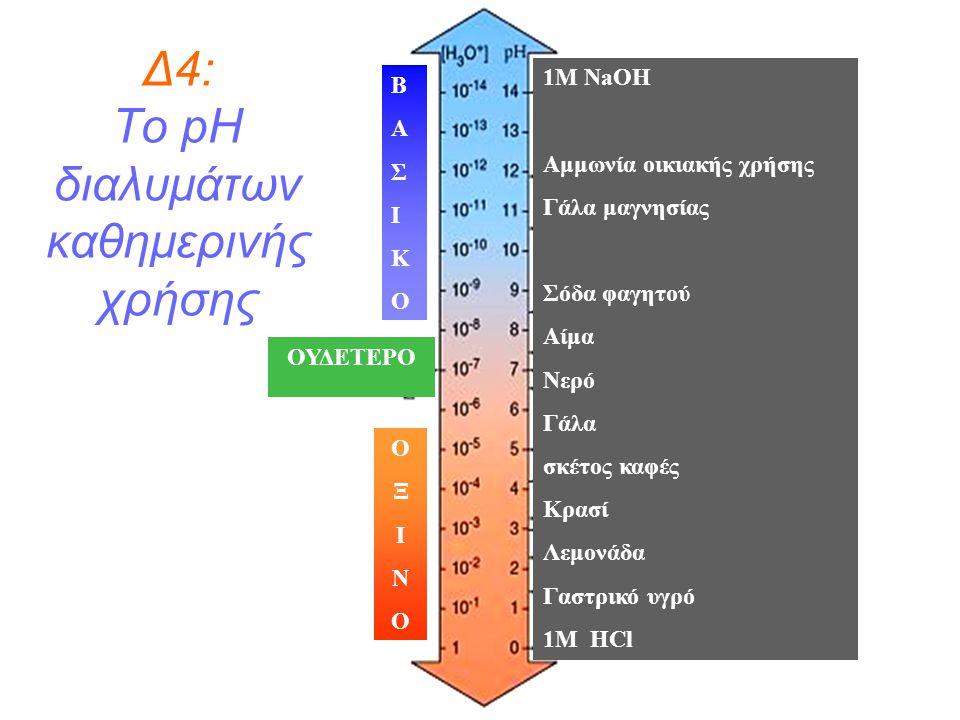 Δ4: Το pH διαλυμάτων καθημερινής χρήσης 1M NaOH Αμμωνία οικιακής χρήσης Γάλα μαγνησίας Σόδα φαγητού Αίμα Νερό Γάλα σκέτος καφές Κρασί Λεμονάδα Γαστρικ