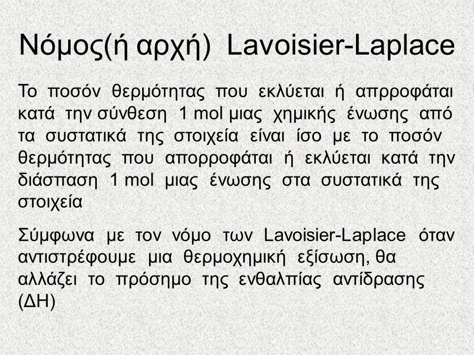 Νόμος(ή αρχή) Lavoisier-Laplace Το ποσόν θερμότητας που εκλύεται ή απρροφάται κατά την σύνθεση 1 mol μιας χημικής ένωσης από τα συστατικά της στοιχεία είναι ίσο με το ποσόν θερμότητας που απορροφάται ή εκλύεται κατά την διάσπαση 1 mol μιας ένωσης στα συστατικά της στοιχεία Σύμφωνα με τον νόμο των Lavoisier-Laplace όταν αντιστρέφουμε μια θερμοχημική εξίσωση, θα αλλάζει το πρόσημο της ενθαλπίας αντίδρασης (ΔΗ)