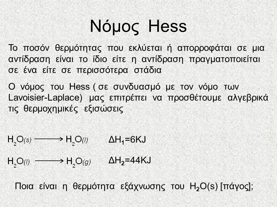 Νόμος Hess Το ποσόν θερμότητας που εκλύεται ή απορροφάται σε μια αντίδραση είναι το ίδιο είτε η αντίδραση πραγματοποιείται σε ένα είτε σε περισσότερα στάδια Ο νόμος του Hess ( σε συνδυασμό με τον νόμο των Lavoisier-Laplace) μας επιτρέπει να προσθέτουμε αλγεβρικά τις θερμοχημικές εξισώσεις ΔΗ 2 =44KJ ΔΗ 1 =6KJ Ποια είναι η θερμότητα εξάχνωσης του H 2 O(s) [πάγος];