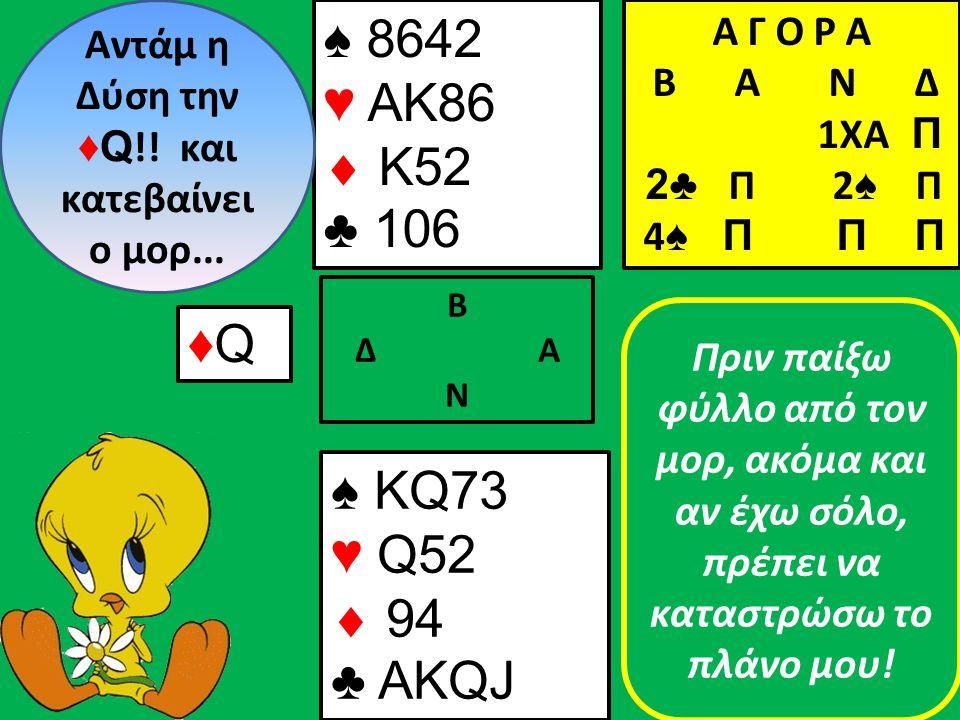 ♠ 8642 ♥ ΑΚ86  K52 ♣ 106 Β Δ Α Ν Αντάμ η Δύση την ♦Q !.