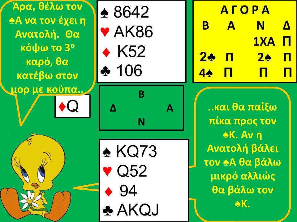 ..και θα παίξω πίκα προς τον ♠ Κ. Αν η Ανατολή βάλει τον ♠ Α θα βάλω μικρό αλλιώς θα βάλω τον ♠ Κ.