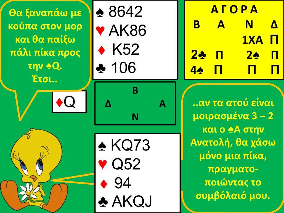 ..αν τα ατού είναι μοιρασμένα 3 – 2 και ο ♠ Α στην Ανατολή, θα χάσω μόνο μια πίκα, πραγματο- ποιώντας το συμβόλαιό μου.