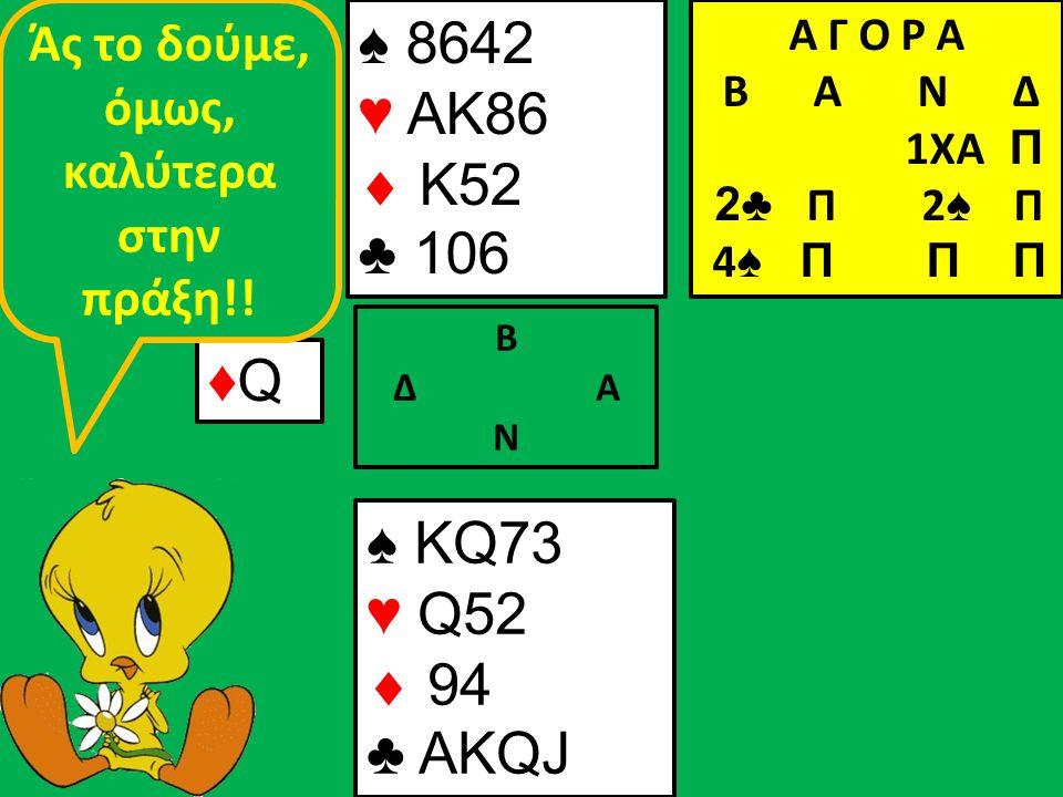 ♠ 8642 ♥ ΑΚ86  K52 ♣ 106 Β Δ Α Ν ♦Q♦Q ♠ KQ73 ♥ Q52  94 ♣ AKQJ Α Γ Ο Ρ Α B Α Ν Δ 1ΧΑ Π 2♣ Π 2 ♠ Π 4 ♠ Π Π Π Άς το δούμε, όμως, καλύτερα στην πράξη!!