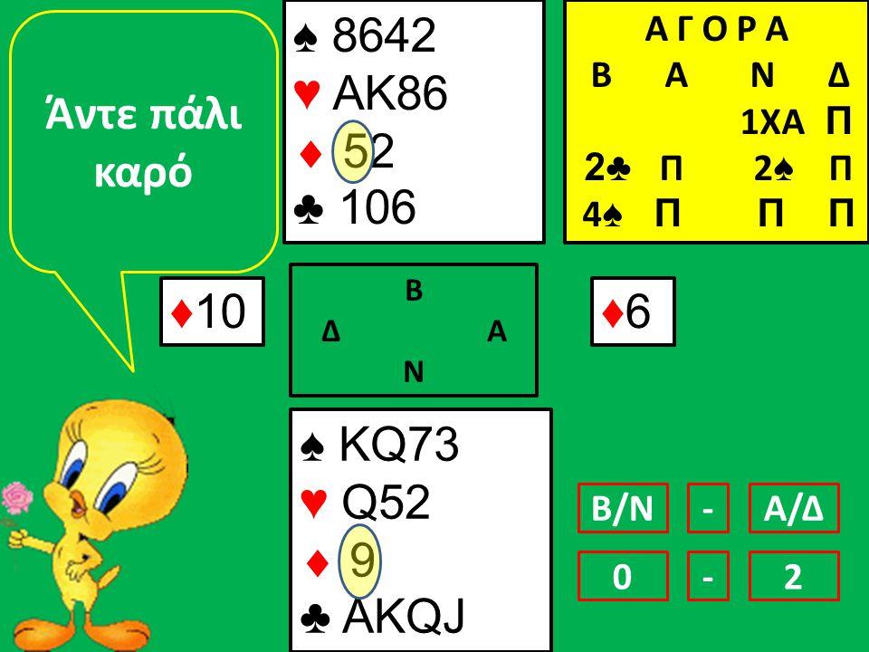 ♠ 8642 ♥ ΑΚ86  52 ♣ 106 ♦10 ♠ KQ73 ♥ Q52  9 ♣ AKQJ Α Γ Ο Ρ Α B Α Ν Δ 1ΧΑ Π 2♣ Π 2 ♠ Π 4 ♠ Π Π Π Β Δ Α Ν ♦6♦6 Άντε πάλι καρό Β/ΝΑ/Δ- 01-2